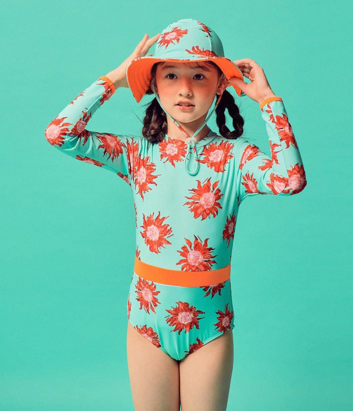 Mint Sunflower All In One Swimsuit